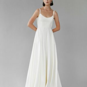 Felicity by Aesling at Revelle Bridal is a minimalist wedding gown Canadian Made Crepe Wedding dress