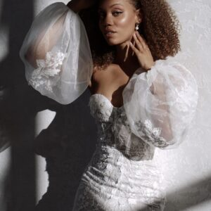 Made with Love Penny Sleeves Lace off-the shoulder puff bell shaped sleeves modern bride