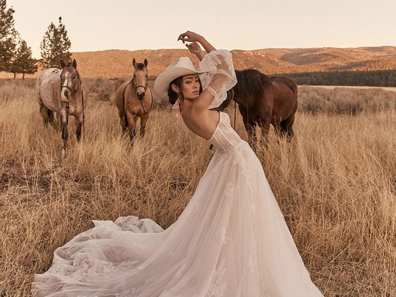 Tara Lauren Trunk Show Revelle Bridal Kismet Blush wedding dress strapless modern bride