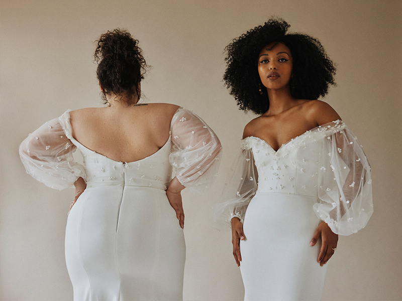 Tropez Laudae Trunk Show Revelle Bridal 2022 Collection Puff Sleeves Fitted Modern Wedding Dress